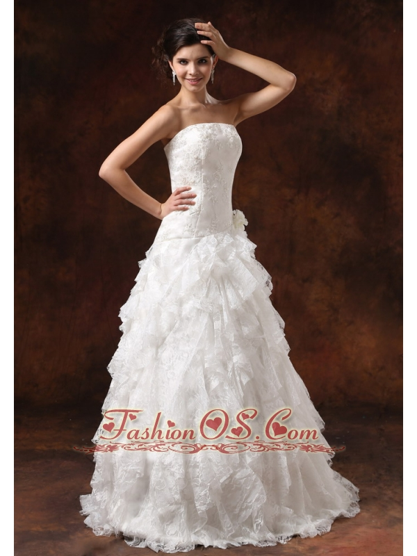 Ruffles Embroidery Decorate Bodice For 2013 Wedding Dress Custom Made