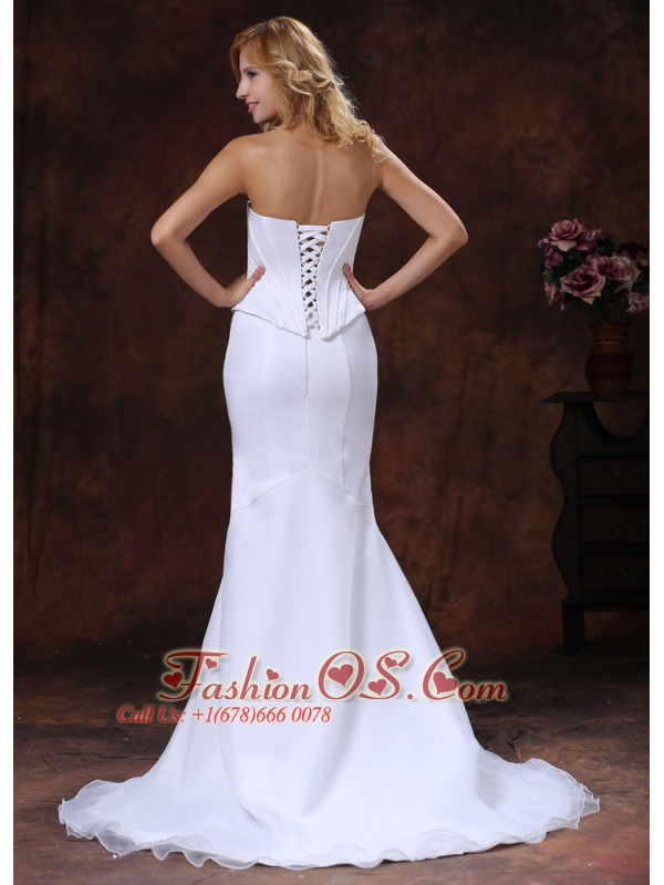 Simple Mermaid Sweetheart Court Train Wedding Dress For Custom Made