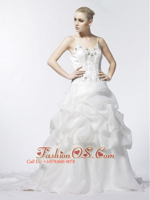 Spaghetti Strap A-Line / Princess Beading Organza Popular 2013 Wedding Dress