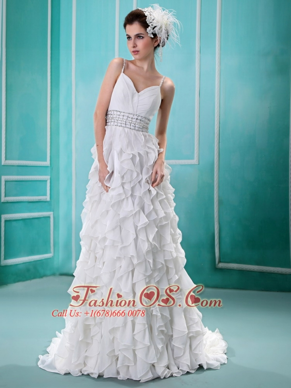 Spaghetti Straps Ruffled Layers Wedding Dress With Beading and Ruch ...