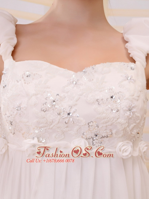 Straps Neckline Wedding Dress With Court Train Beaded Decorate Bust