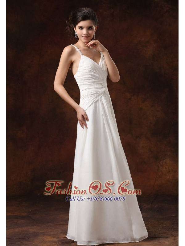 Straps Ruched Bodice Floor-length For Wedding Dress Chiffon