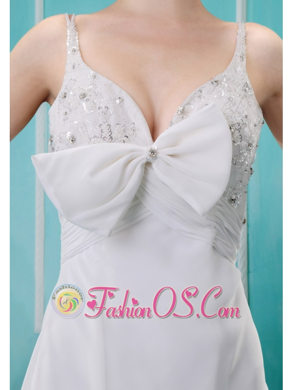 The Style White Chiffon Beaded Decorate Bust Spaghetti Straps Wedding Dress