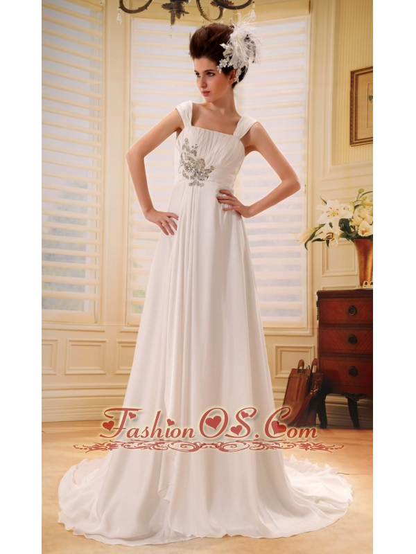 Wide Straps Neckline Wedding Dress With Brush Train Beaded and Ruch Decorate