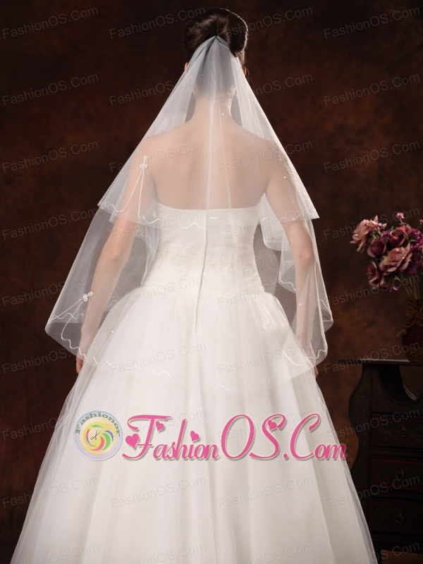 2 Layers Graceful Organza Ribbon Edge Bridal Veils