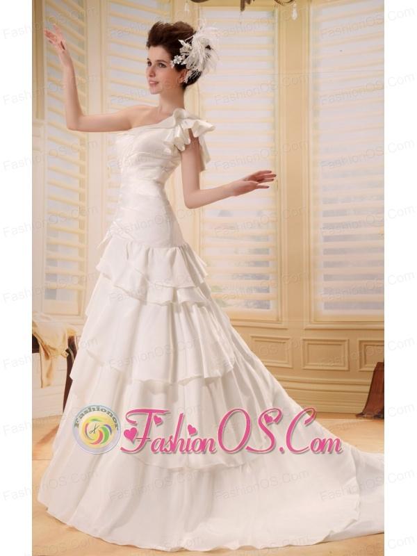 2013 Custom Made Ruffled Layers One Shoulder Wedding Dress Chapel Train