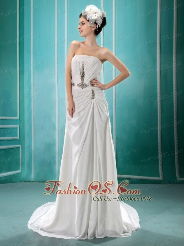 2013 New Arrival Strapless Neckline For Prom With Beaded and Ruch Decoate Column Prom Dress