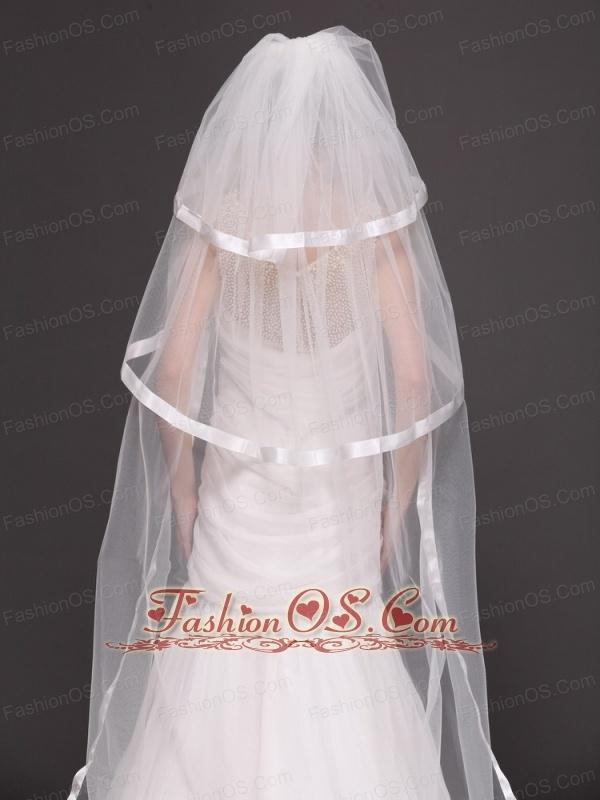 Three Layers and Taffeta Ribbon Edge Bridal Veils For Wedding