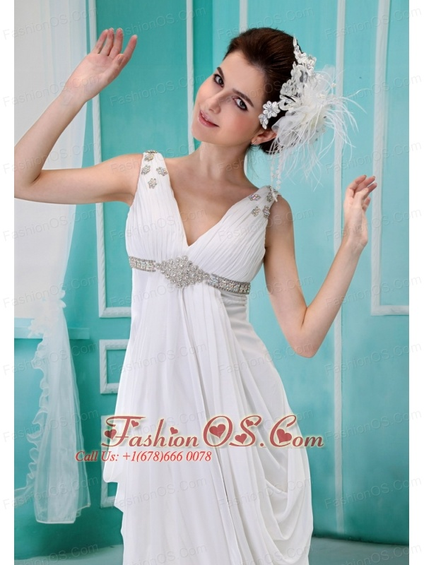 Apple Valley Beading and Ruch Decorate Bodice V-neck Chapel Train White Chiffon 2013 Wedding Dress
