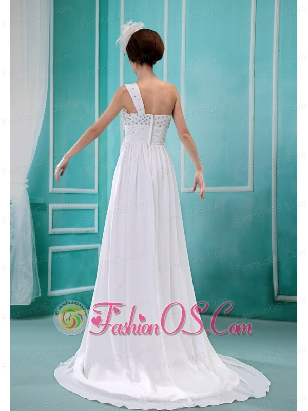 Birmingham Hand Made Flowers Beading Ruch One Shoulder Brush Train White Chiffon Wedding Dress For 2013