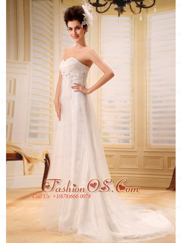 Bloomfield Hills Beaded Decorate Bodice Lace and Tulle Sweetheart Neckline Brush Train 2013 Wedding Dress