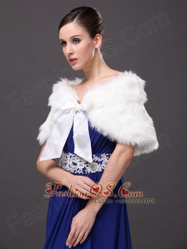 Bowknot V-Neck Faux Fur Formal Occasions Wraps / Shawls