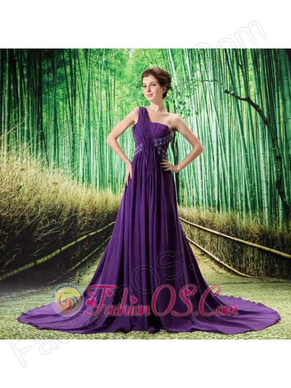 Custom Made Purple One Shoulder Ruched Bodice Prom Dress Beaded Decorate Bust In Formal Evening