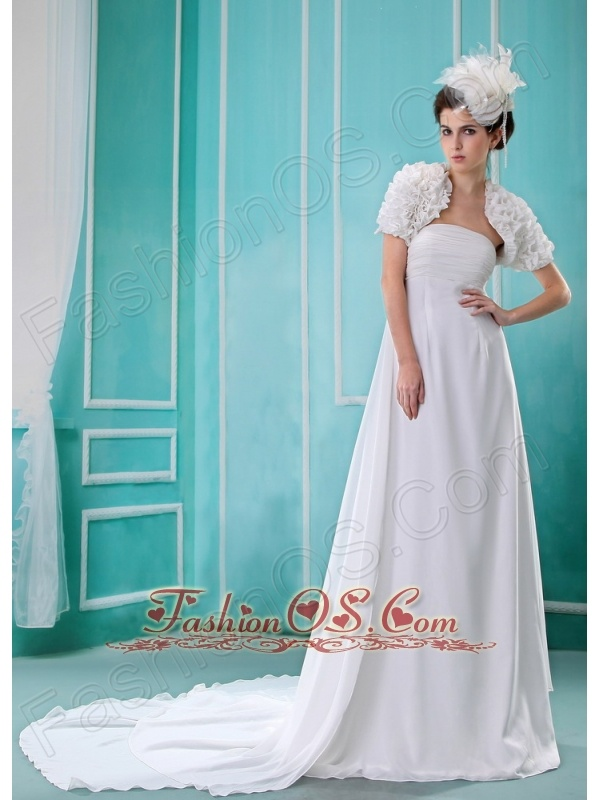 Custom Made Wedding Dress With Strapless Court Train Ruch and Chiffon