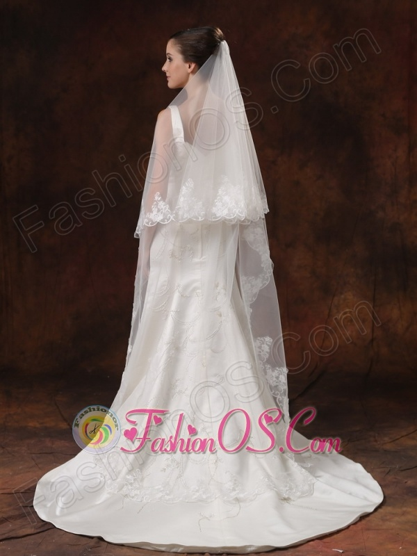 Discount Tulle With Lace Appliques Bridal Veil On Sale