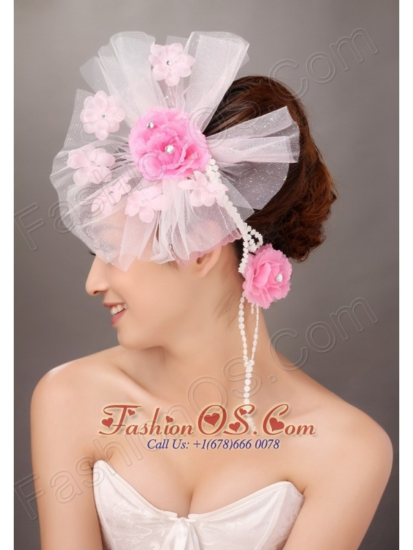 Fashionable Light Pink Tulle Hand Made Flowers Beading Fascinators For Party