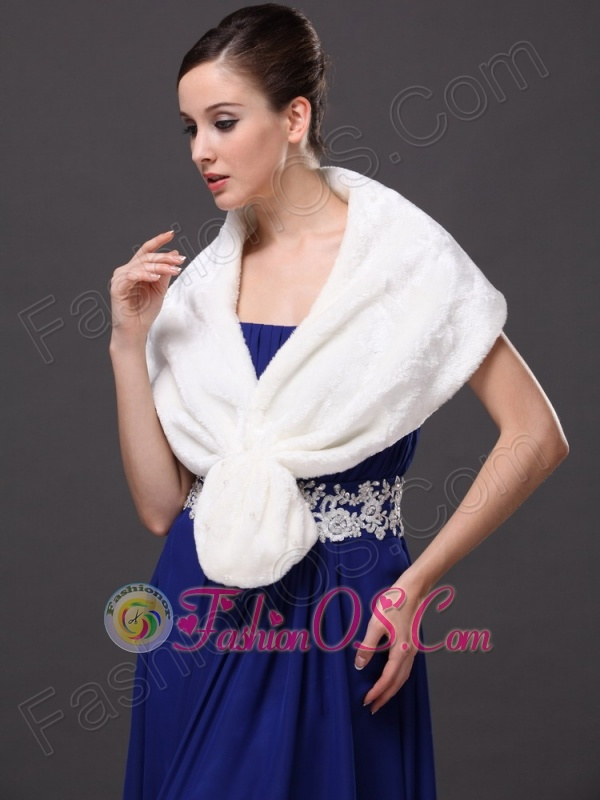 Faux Fur Fashionable V-Neck White Wedding Party And Prom or Cocktail Wedding Wrap
