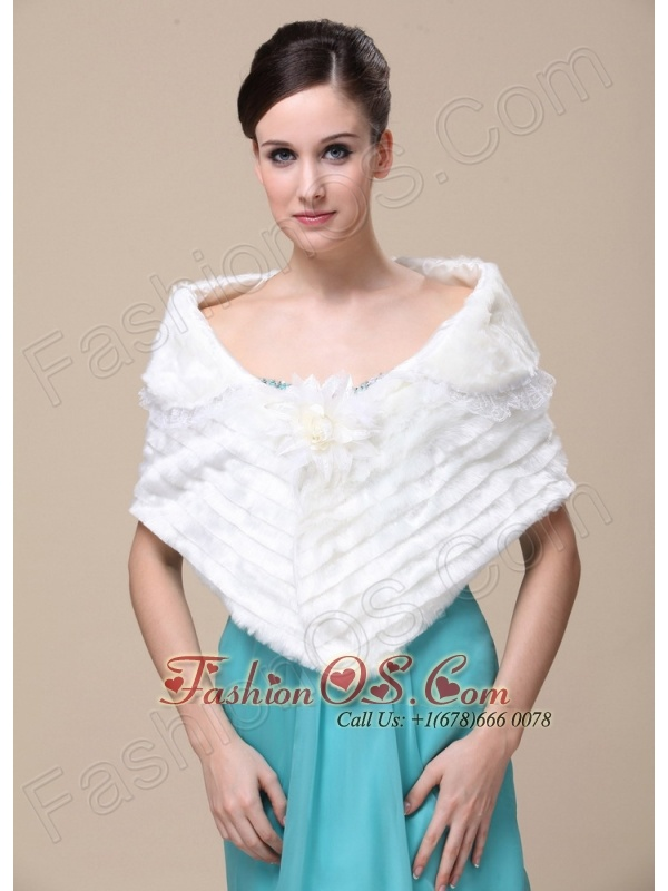 Faux Fur Special Occasion / Wedding Shawl With Hand Made Flower Front