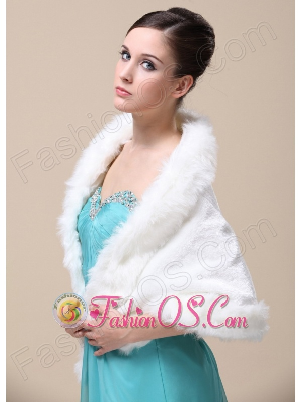 Faux Fur Special Occasion / Wedding Shawl With Open Front