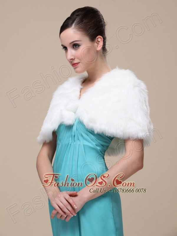 Faux Fur Wedding / Special Occasion Shawl With Front Closure