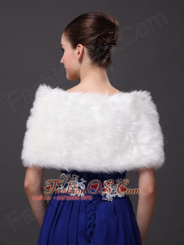 Front Closure and Faux Fur For Wedding / Special Occasion Shawl
