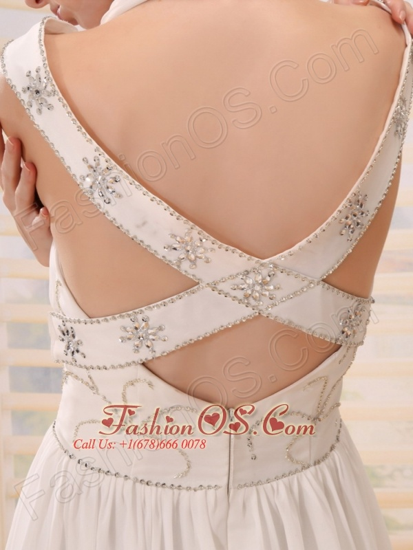 Halter and Off the Shoulder Beading Empire Chiffon White Court Train Wedding Dress