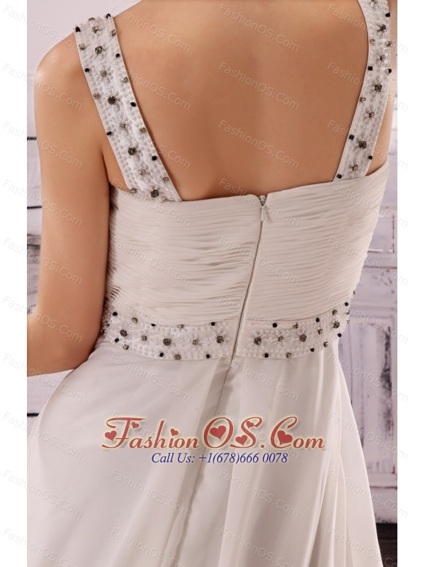 Hand Made Flowers Beaded Decorate Waist Empire Chiffon Stylish Wedding Gowns For 2013 Custom Made