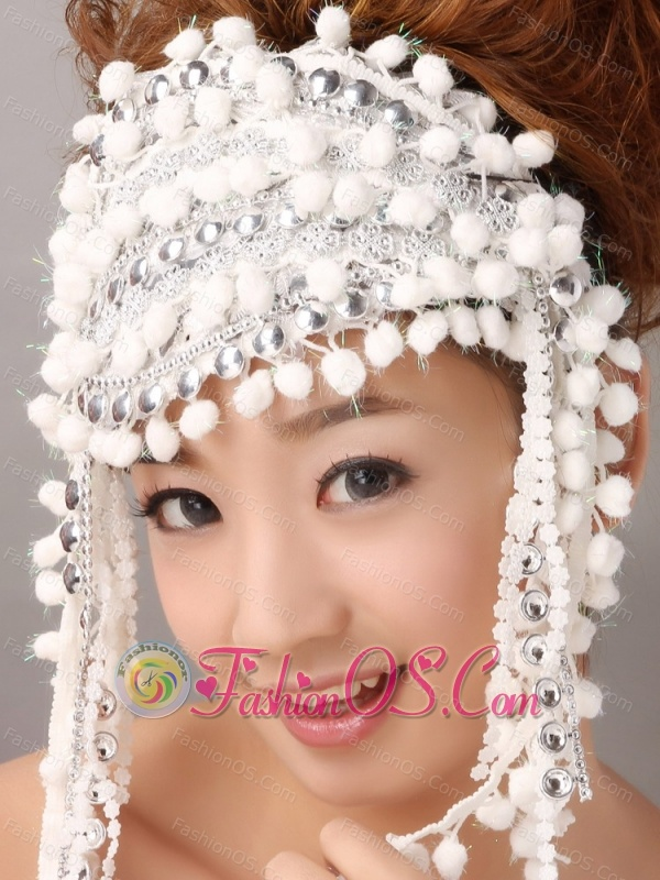 White Inexpensive Fascinator With Special Fabric