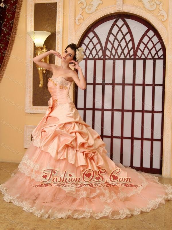 Lace Beading A-Line / Princess Sweetheart Organza Cathedral Train Wedding Dress