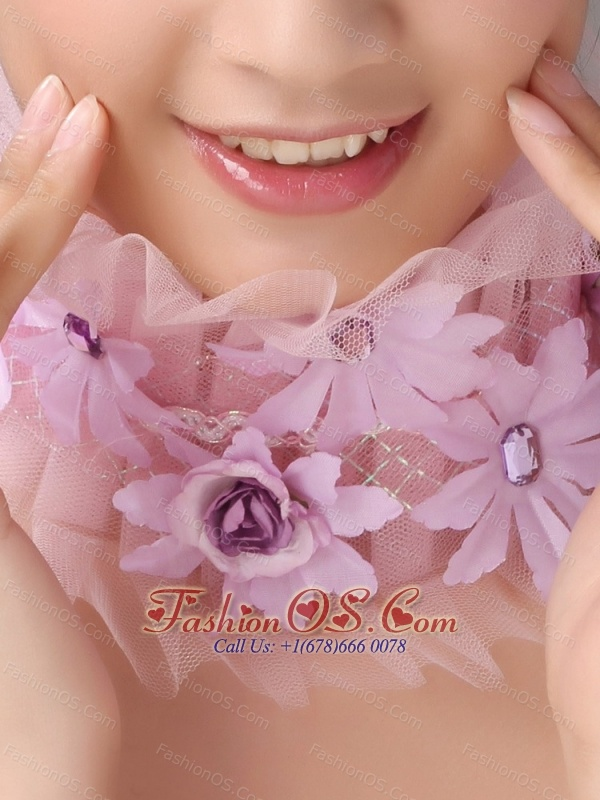 Lavender Headpieces With Appliques Decorate On Tull For Prom