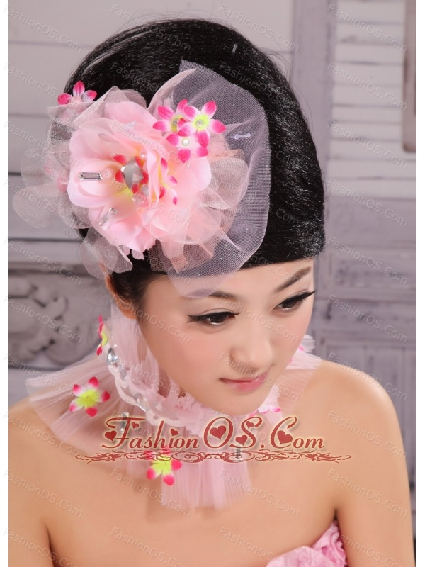 Light Pink Chiffon and Net Big Flowers With Rhinestones For Party