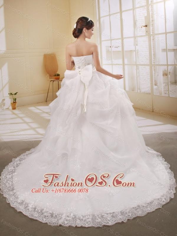 Luxurious Strapless Neckline Lace Princess Beaded Decorate Waist Wedding Dress