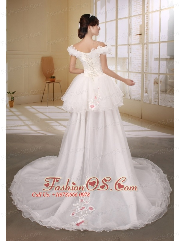 Off The Shoulder Necklien High-low Wedding Dress With Appliques Decorate