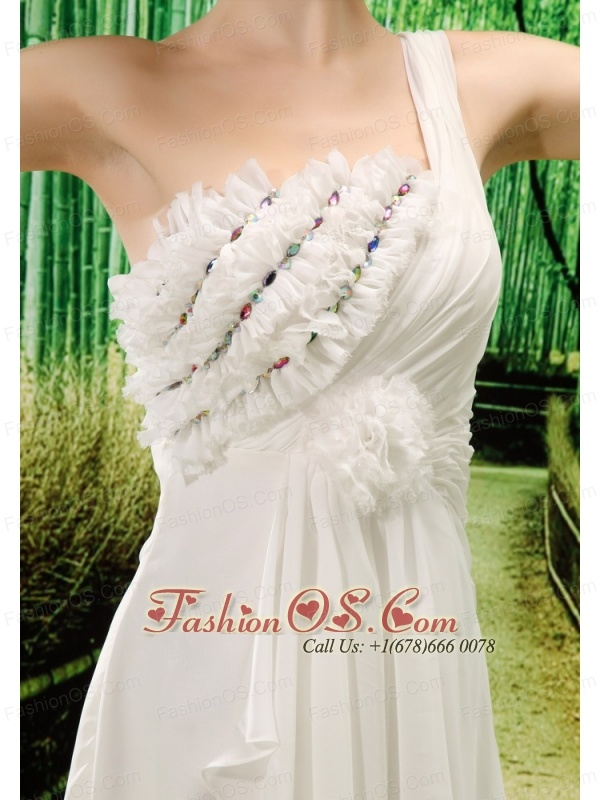 One Shoulder Hand Made Flowers For Wedding Dress With Brush Train