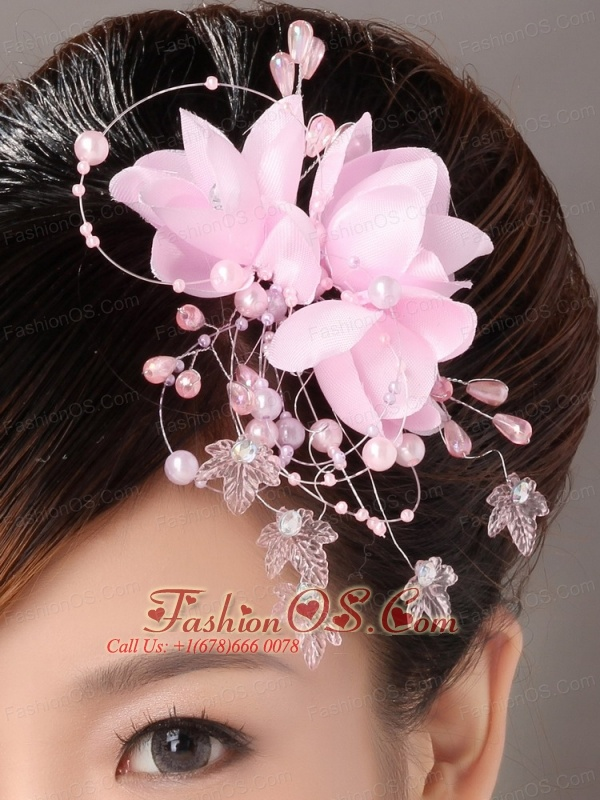 Pink Organza Imitation Pearls Special Occasion Fascinators