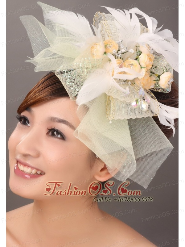 Popular Light Yellow Tulle Feather Hand Made Flowers Fascinator