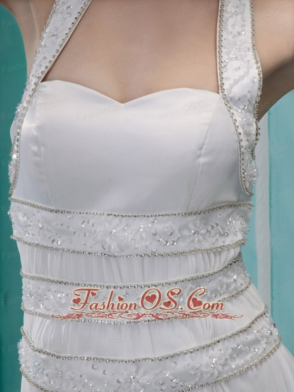 Pretty Beaded Halter Pleat Prom Dress With Chapel Train For Custom Made