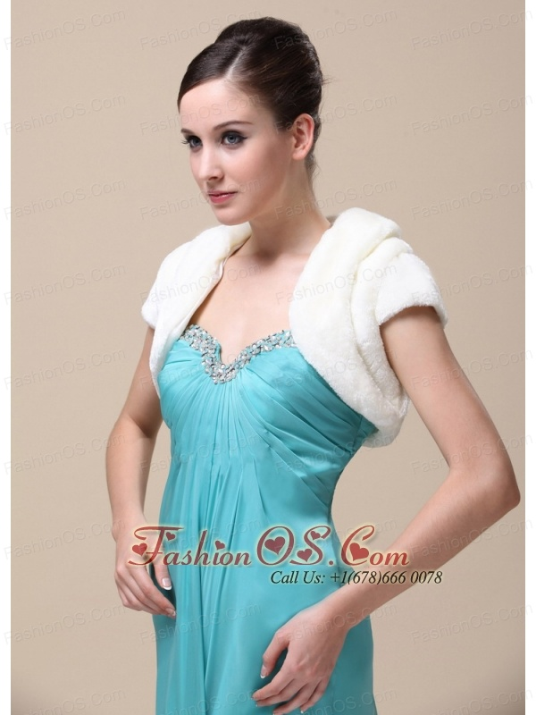 Pretty Faux Fur Special Occasion / Wedding Jacket With Short Sleeves On Sale