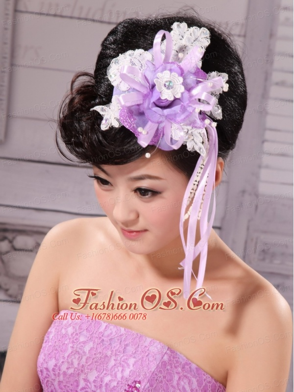 Side Clamp Flower and Lace Taffeta For Wedding Party