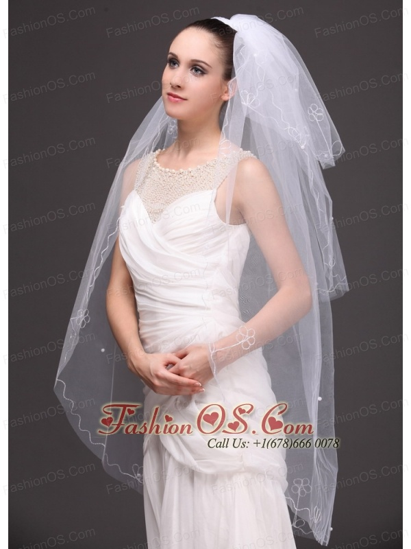 Three-tier Tulle With Embroidery Bridal Veil