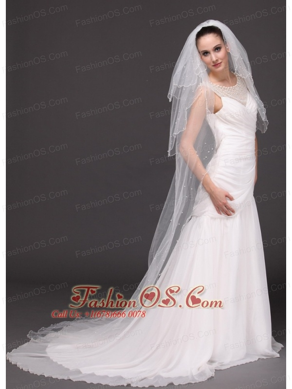 Three-Tier Tulle With Pearls Drop Veil