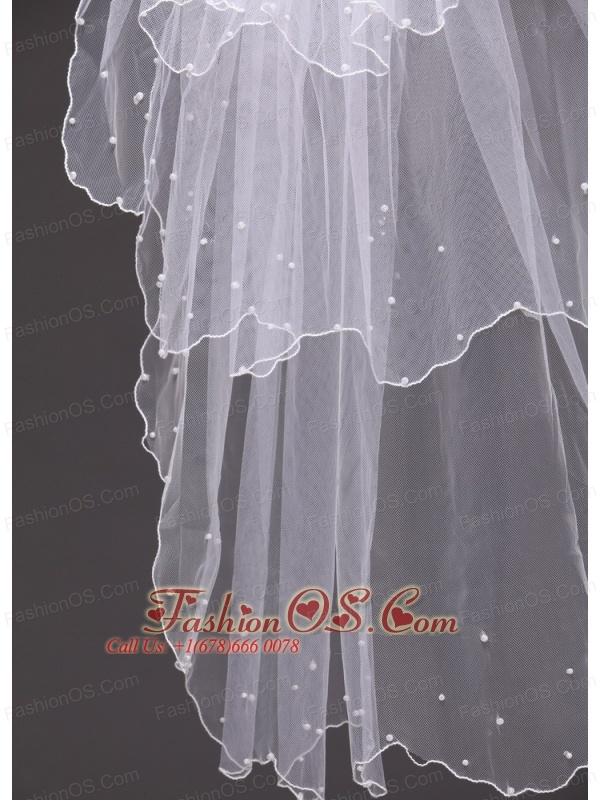 Three-tier Tulle  With Pearls Wedding Veil