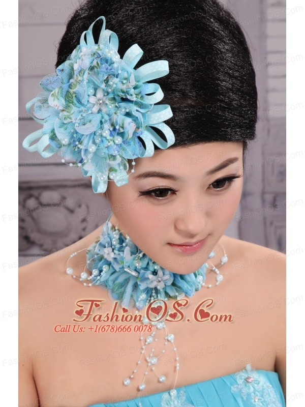 Tulle Aqua Blue Imitation Pearls and Flowers Decorate For Party In 2013
