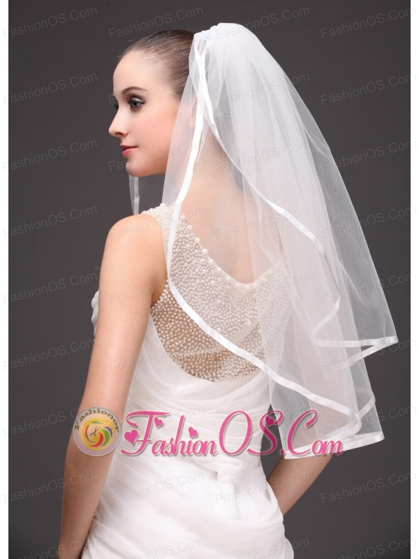 Two-tier Tulle With Ribbon Edge Wedding Veil