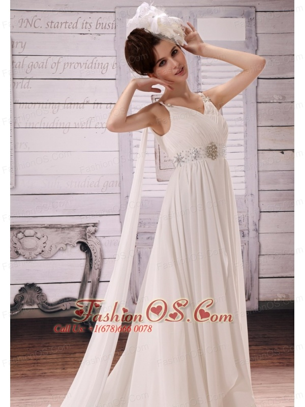 V-neck Watteau Train and Beaded Decorate Waist For 2013 Wedding Dress