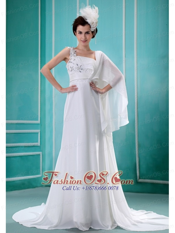 Watteau Train One Shoulder Chiffon Empire Appliques Decorate Shoulder Stylish 2013 Wedding  Dress
