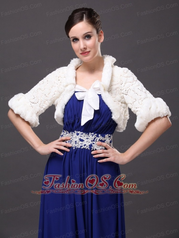 White Faux Fur Bowknot Fold-over Collar Prom Jacket