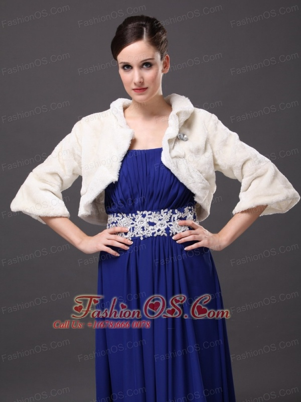 White Faux Fur Open Front Fold-over Collar Prom Jacket