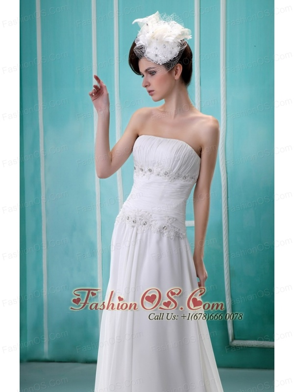 White Strapless Custom Made Wedding Dress With Ruched Bodice and Beading