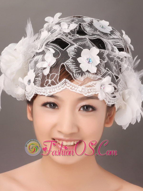 Appliques and Feather In Lace Hat Hair Ornament